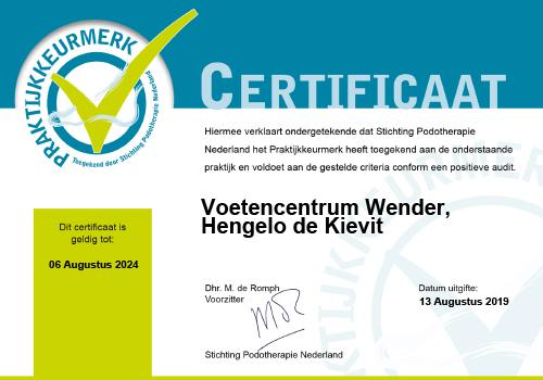 Certificaat Praktijkkeurmerk Voetencentrum Wender